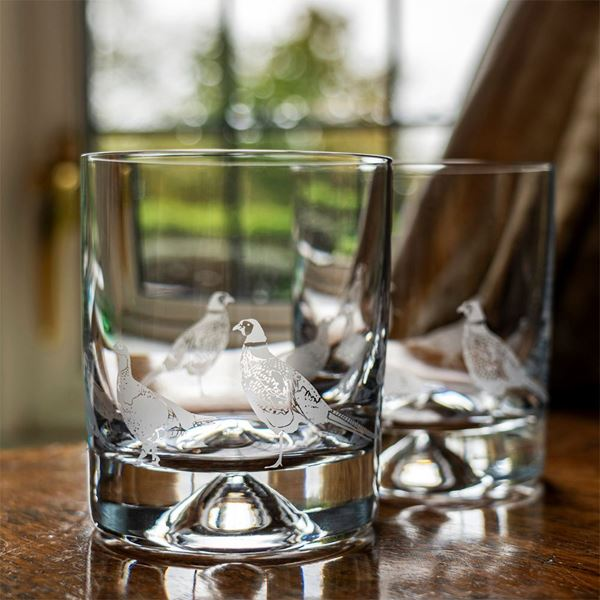 A Pair of Game Bird Scene Etched Tumblers