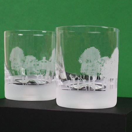 Netball Scene Etched Glass Tumbler
