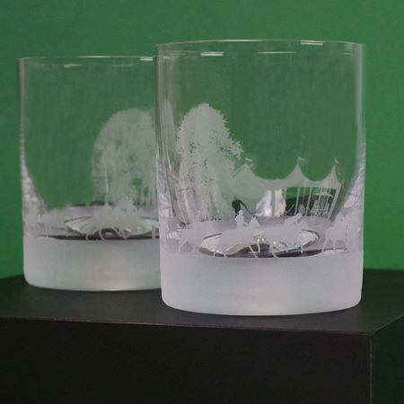 Polo Scene Etched Glass Tumbler