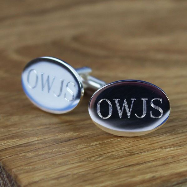 Personalised Oval Silver Cufflinks