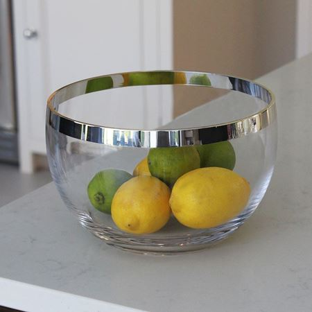 Monaco Crystal Bowl with Sterling Silver Trim