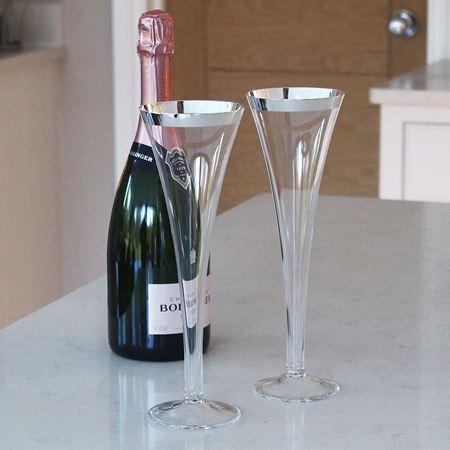 Monaco Silver Trim Trumpet Champagne Flute